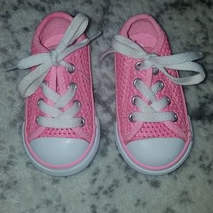 Converse pink woven weaved baby size 4 shoes